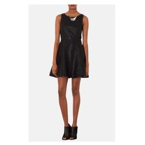 Topshop quilted pleather skater dress
